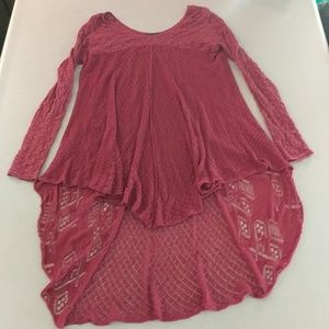 Free People Red High Low shirt